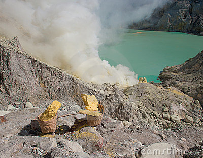 Baskets of sulphur, Kawah Ijen, Java, Indonesia