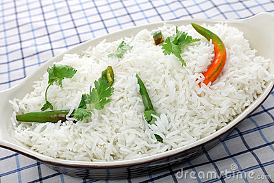 Basmati rice with cilantro and chillis