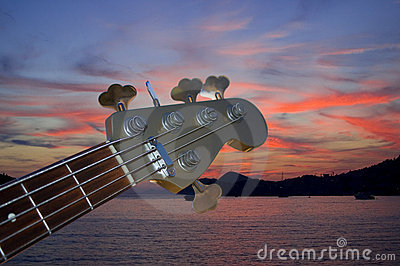 Bass guitar in the dusk