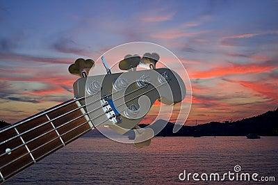 Bass guitar in the dusk