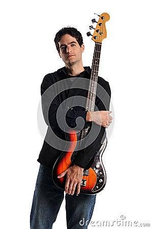 Free Bass Guitar Player Posing Stock Photos - 12875843