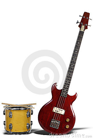 bass guitar and snare drum royalty free stock photography