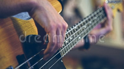 Bass Guitarist Playing Solos stock footage