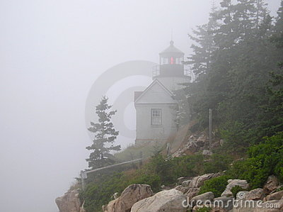 Bass Harbor Lighthouse in Fog