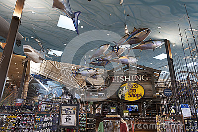 Bass Pro Shop fishing section at the Silverton hotel in Las Vega Editorial Stock Image
