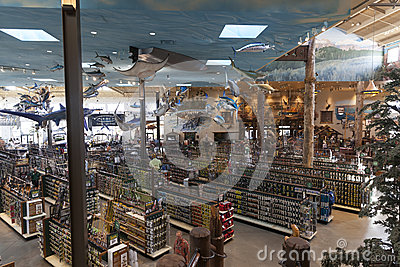Bass Pro Shop, outdoor world at the Silverton hotel in Las Vegas Editorial Stock Photo