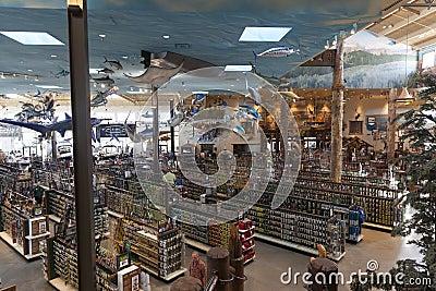 Bass Pro Shop utomhus- värld på det Silverton hotellet i Las Vegas Redaktionell Arkivfoto