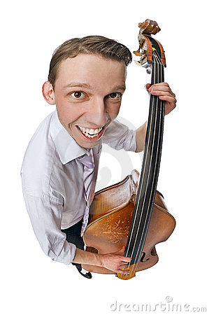 Free Bass Viol Player On White Background Royalty Free Stock Photo - 10325515