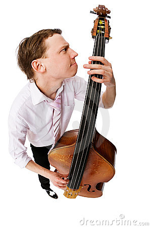 Free Bass Viol Player On White Background Royalty Free Stock Photos - 10351418