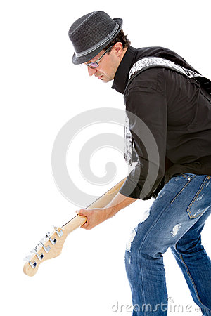 Bassist playing on white background