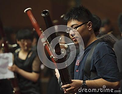 Bassoon boy on wind music chamber music concert