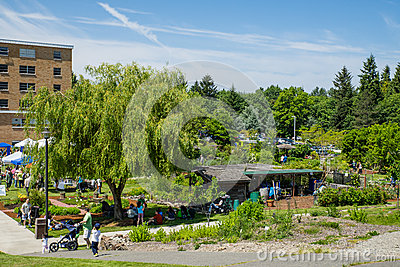 Bastyr University Herb and Food Fair view of campus garden Editorial Stock Photo