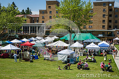 Bastyr University Herb and Food Fair view of vendor tents Editorial Image