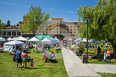 Bastyr University Herb and Food Fair view from walking path Editorial Stock Image