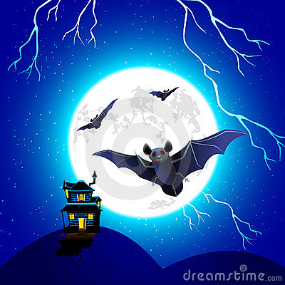 Bat flying in Halloween Night