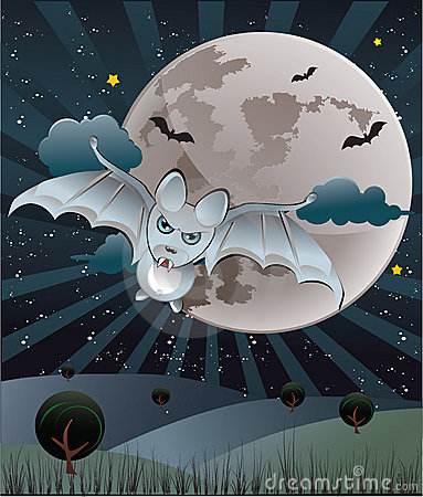 Bat with a full moon