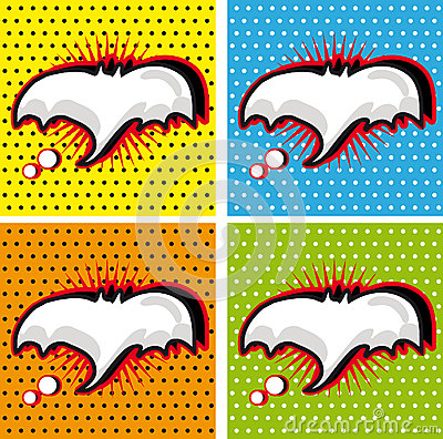Bat Halloween Speech Bubble in Pop-Art Style backgrounds set