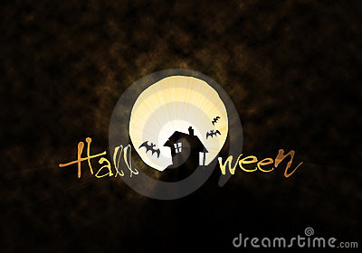 Bat hut and moon Halloween theme
