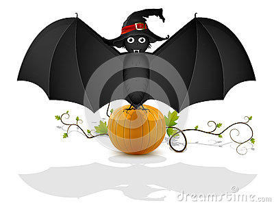 Bat and pumpkin