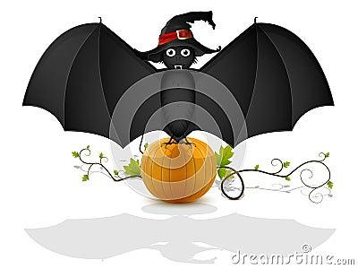 Bat and pumpkin