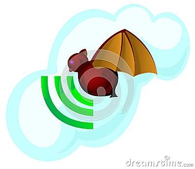Bat and signal symbol