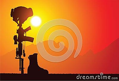 Batalistyczny krzyż spadać żołnierz