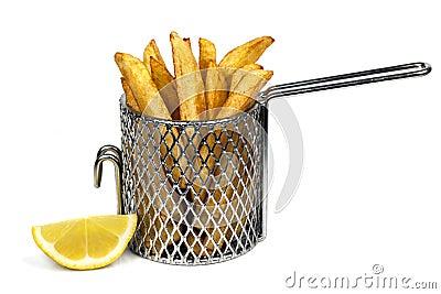 A batata lasca dentro a cesta
