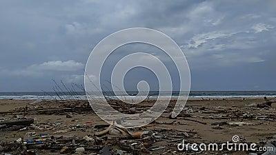 Bate-papo na praia faz parecer sujo e bagunçado a poluição, porque muitos plásticos, madeira e outros resíduos vídeos de arquivo