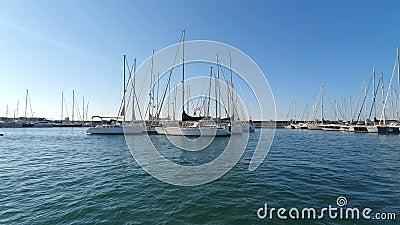 Bateau espagnol à Marina Valencia. Vue des yachts sur le port depuis un bateau de plaisance. Club nautique en Espagne banque de vidéos