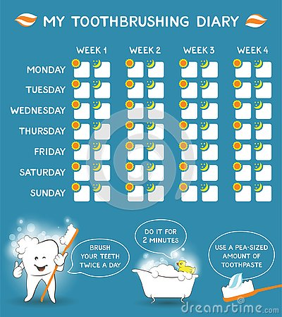 Toothbrushing diary with dental advice for kids, stomatology planner for children. Tooth care banner. Week starts Monday Vector Illustration