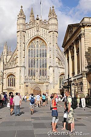Bath Abbey and the Roman Baths in Bath England Editorial Photography