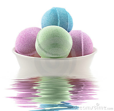 Bath balls and candle