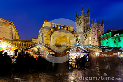 Bath Christmas Market at Night Editorial Photo