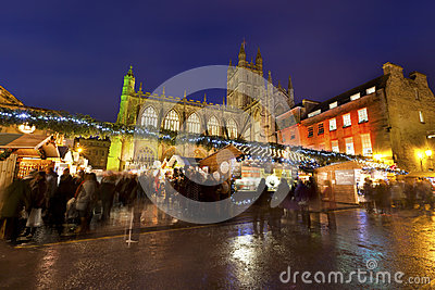 Bath Christmas Market at Night Editorial Image