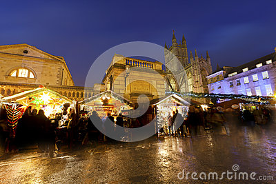 Bath Christmas Market at Night Editorial Stock Photo