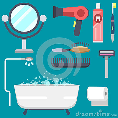 Bath equipment icons modern shower colorful illustration for bathroom interior hygiene vector design. Vector Illustration