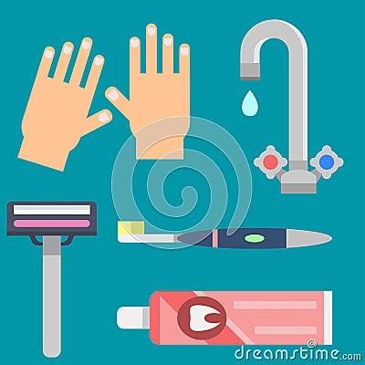 Bath equipment icons modern shower colorful illustration for bathroom interior hygiene vector design. Vector Illustration