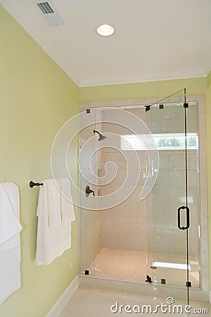 Bath with glass shower