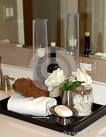Bath items on bathroom vanity