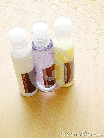 Bath products bottles