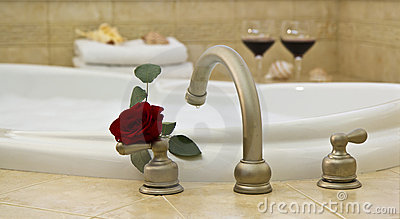 bath, red rose, wine