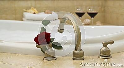 bath, red rose, wine