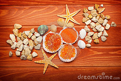 Bath salt and sea-shell