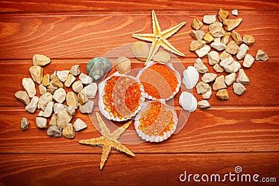 Bath salt and sea-shell