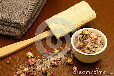 Bath salts, loofah, and towel