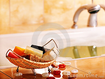 Bath still life with bar of soap.
