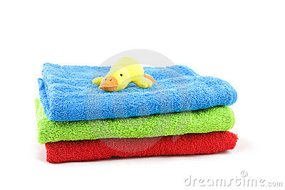 Bath towels and toy duck