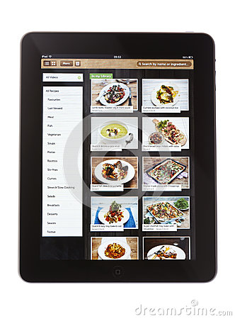Jamie Oliver Recipe App on iPad Editorial Photo