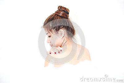 Bath woman model enjoying bathtub with bath foam