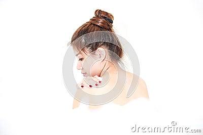 Bath woman model enjoying bathtub with bath foam